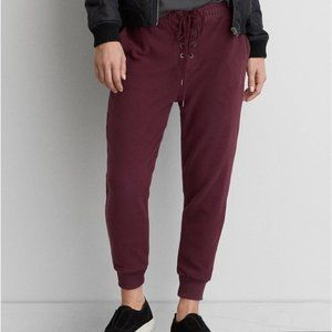 Aerie Maroon Lace Up Jogger Sweatpants